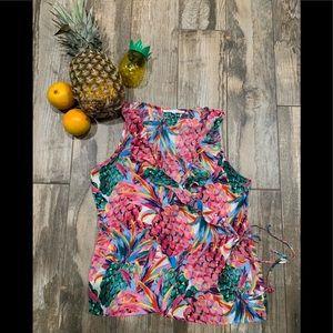 Violet + Claire EUC Vibrant Pineapple Wrap Blouse